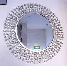 Luxury Wall Decor / Metal & White Crystal & Pearl ' Round ' Mirror -- On Sale !