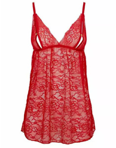 Ann Summers Avena Peep Chemise Size S 8-10 New with Tags Red Babydoll Cami PJ
