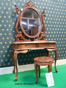 TEAK WOOD Rustic Dressing Table mirror & stool