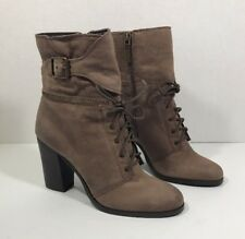 Tahari Farah Womens Size 9 M Brown Leather Lace Up Boots