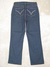 NYDJ Lift Tuck Jeans High Waist Straight USA Sz 6 EUR 36 w Crystal Pocs
