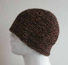 handmade ECO COTTON seamless black and brown melange men's beanie