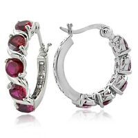 Sterling Silver 2.60ct Created Ruby S Design Hoop Earrings