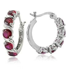 Sterling Silver 2.60ct Created Ruby S Design Hoop Earrings