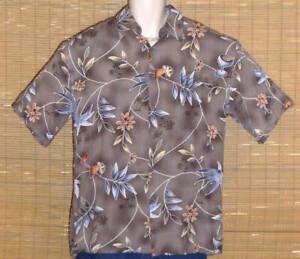 CAMPIA MODA Hawaiian Shirt Brown Blue Orange Floral Size Medium