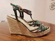COLLIN STUART Multicolor Animal Print High Heel Espadrille Strappy Sandals Sz 9