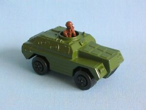 Lesney Matchbox Rolamatic Stoat Armoured Car Olive Green Army Scout Military