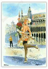 Ex-libris Meynet Bruxelles Grand Place Pin-up Mirabelle 220 ex signé 21x29,7