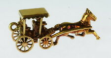 Lady 14K Gold Mechanical Horse Buggy Estate Charm 108084