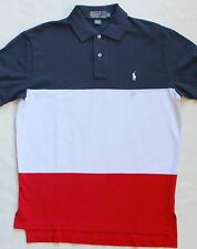 New Polo Ralph Lauren Blue / White / Red Striped Cotton Mesh Shirt / Small
