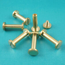 50 Set 8*15mm Solid Brass Rivet Chicago Screw for Leather Craft Flat