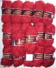 17 Skeins Patons ALLURE Eyelash Fur Yarn Garnet Red Discontinued