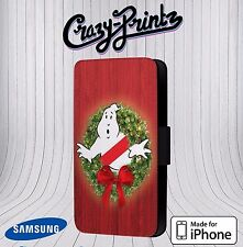 Ghostbusters Christmas Wreath fits iPhone / Samsung Leather Flip Case Cover V16
