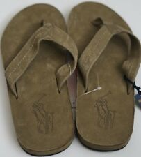 NEW POLO RALPH LAUREN OLIVE BIG PONY LEATHER LOGO FLIP FLOP SANDAL SLIPPER 10 D