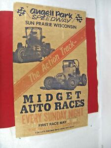 Vintage Angell Park Midget  Auto Races Poster Sun Praire Wi. Not a Reproduction
