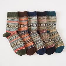 Men's Winter Thicken Wool Knit Socks Warm Retro Style Casual Dress Socks 1 Pair