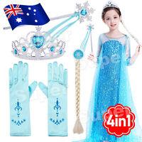 Frozen Princess Elsa Anna Gloves Tiara Crown Braid Wig Hair Piece Wand Kid Gift