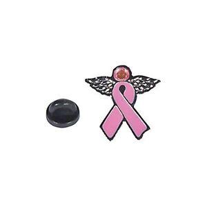 3 x NEW DESIGN METAL PINK RIBBON ANGEL PIN Breast Cancer Awareness Jewel 2.5 cm