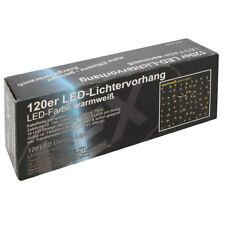 LED 120er Lichtervorhang innen außen Warmweiß Kabel transparent