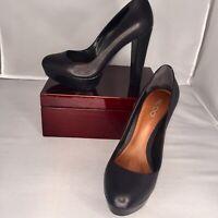 "Women's ALDO Genuine Leather Black Platform Pumps 5"" Heels Sz 39 (US 8.5M)"