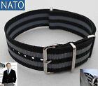 NATO 18mm noir-gris ( dive pilot chronograph mechanical military diving watch )
