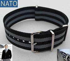 NATO 18mm noir-gris ( watch montre strap reloj correa cinturino bracelet strap )