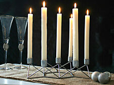 Modern Distressed Silver Taper Candle Holder Home Decor Table Centrepiece Rustic