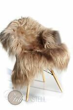 Mongolisches Ziegenfell Beige langes glattes Fell 95x70 cm