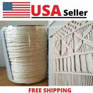 Macrame Cord 4mm x 150Yards Natural White 3 Strand Twisted Cotton Rope Crafts