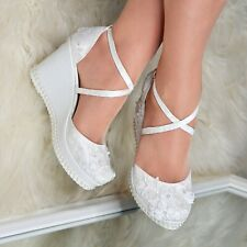 Ladies Bridal Wedges Floral Lace High heel Ivory Pumps Strappy Wedding Shoe Size