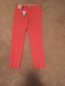 Murano Alex Slim Fit Flat Front Men Coastal Collection Coral Pants Sz 32x32 NWT