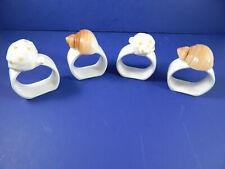 Lot of 4 White Porcelain Seashell Napkin Rings