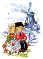 Vintage Image Dutch Couple Boy Girl Delft Blue Windmill Waterslide Decals KID542