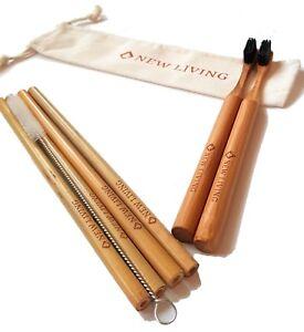 Bamboo Starter Pack 4 x Straws 20cm, 2 x toothbrush, Bag and Cleaner Uk Seller