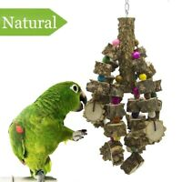 Large Parrot Toy Natural Wood Bird Chewing Parakeet Cage Hammock Hanging Toys