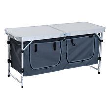 Outsunny Tavolino da Campeggio Picnic con Base per Cibi e Bevande Alluminio