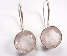 Faceted Rose Quartz Round 925 Sterling Silver Wire Back Earrings