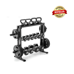 Marcy 3-Tier Dumbbell Weight Rack Side Plates Storage Kettlebell Weights Stand