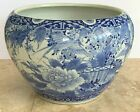 Impressive Old Chinese Blue   White Porcelain Birds Floral Motif Planter Bowl