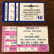 RARE 1986 Chicago Cubs Lot of 2 Spring Training Ticket Stubs vs Mariners & A'S