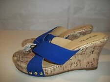 Just Be Women's Wedge Style Sandals Blue Faux Cork Size 6