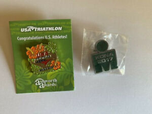 Two 2017 Hawaii Ironman World Championship Commemorative Pins