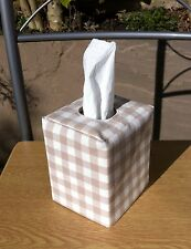Tissue Box Cover Laura Ashley Gingham Fabric Dark Linen
