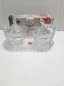 3 Pc Set Crystal Glass Sugar Candy Pot With Tray