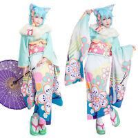 SAO ALO Yuuki Asuna Asada Shino Leafa Japanese Furisode Kimono Cosplay Costume