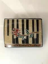 Vintage Artisan Handcrafted Inlaid  Piano With Single Rose Brooch Pin