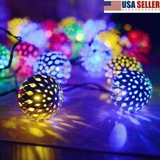 Led Romantic Moroccan Fairy String Lights Lantern Solar Powered Garden Lamps