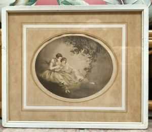 """""""The Romance"""",  signed lithograph, """"Feld""""  Louis Icart style,  hand colored"""