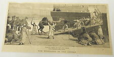 1884 magazine engraving ~ REBELLION IN THE SUDAN, Shipping Camel at Suez