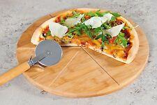 Pizzabrett inkl. Schneider, Bambus Pizzateller, Pizza Servierbrett, FSC, Ø 32cm